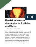 Marabá Vai Receber Siderúrgica de 2 Bilhões de Dólares