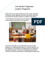 Antonio Moura Santos Organize Teacher Education Programs