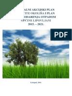 Lokalni Akcijski Plan Zaštite Okoliša i Plana Gospodarenja Otpadom Općine Lipovljani 2015. 2021.