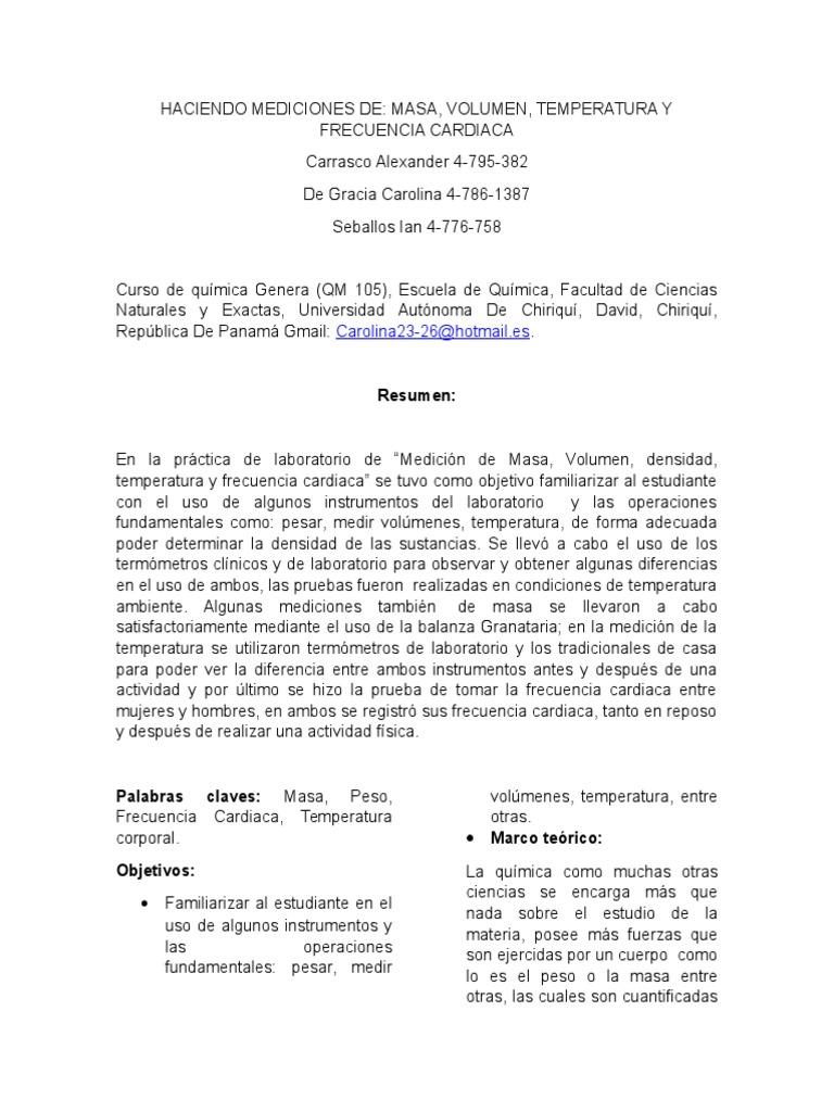 2 Lab Haciendo Mediciones de Masa,Peso,Volumen y Frecuencia Cardiaca ...