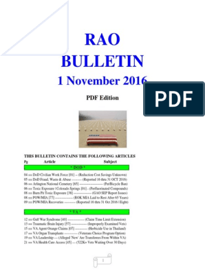Bulletin 161101 (PDF Edition) | Agent Orange | Veteran