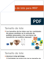 Tamaño de Lote Para MRP