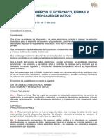 Ley de Comercio Electronico Firmas y Mensajes de Datos