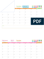 Any Year Monthly Calendar (12 Pages, Rainbow Bears Design)1