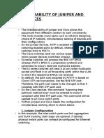 Interoperability of Juniper and Cisco Devices
