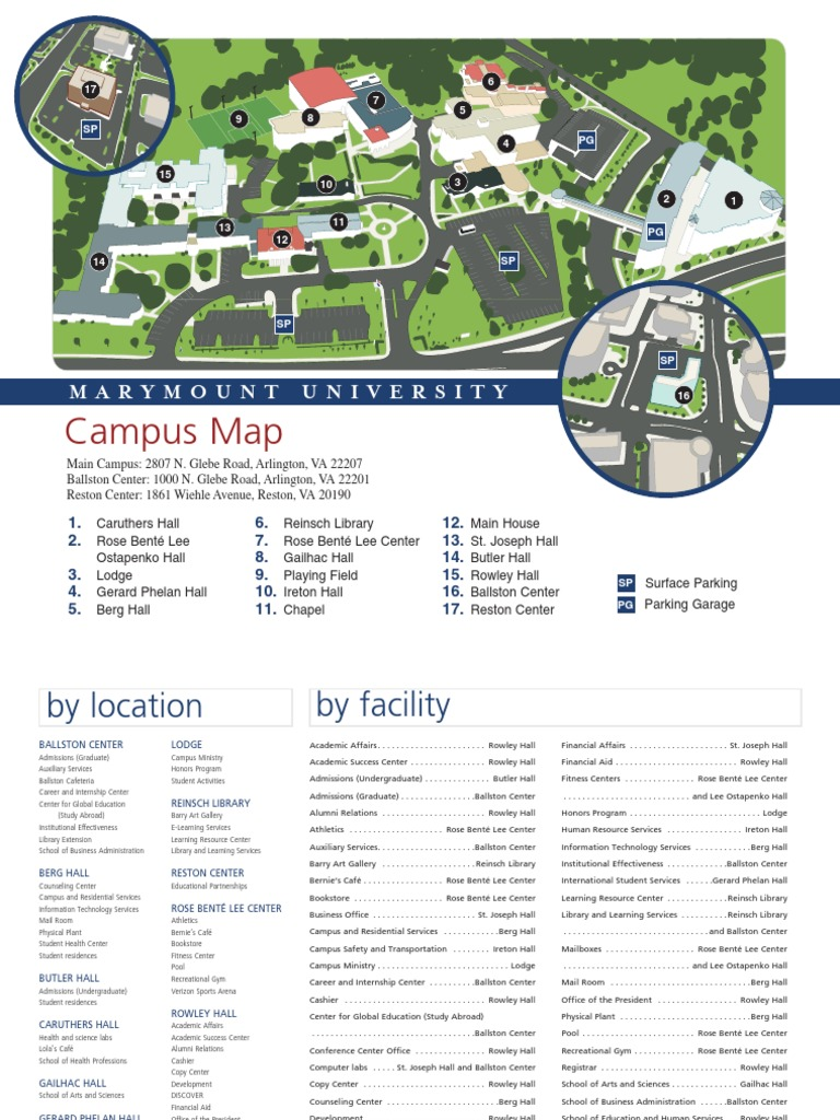 St Rose Campus Map.Print Marymount University Campus Map Academia Further Education
