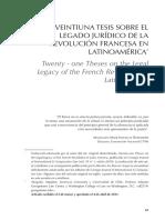 Veintiuna Tesis Sobre El Legado Jurídico de La Revolución Francesa en Latinoamérica
