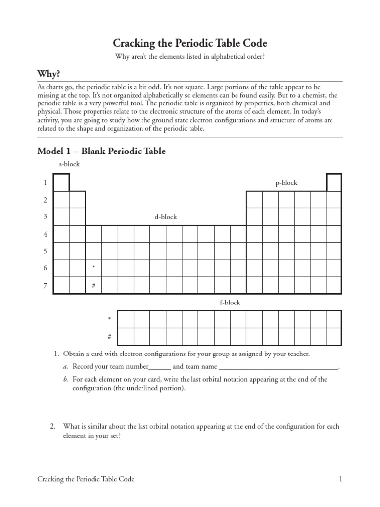 worksheet Crack The Code Worksheet Answers 14 cracking the periodic table code s pdf electron configuration
