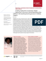 Counselling Implications of Teachers Digital Competencies in the Use of Social Networking Sites SNSs in the Teaching Learning Process in Calabar