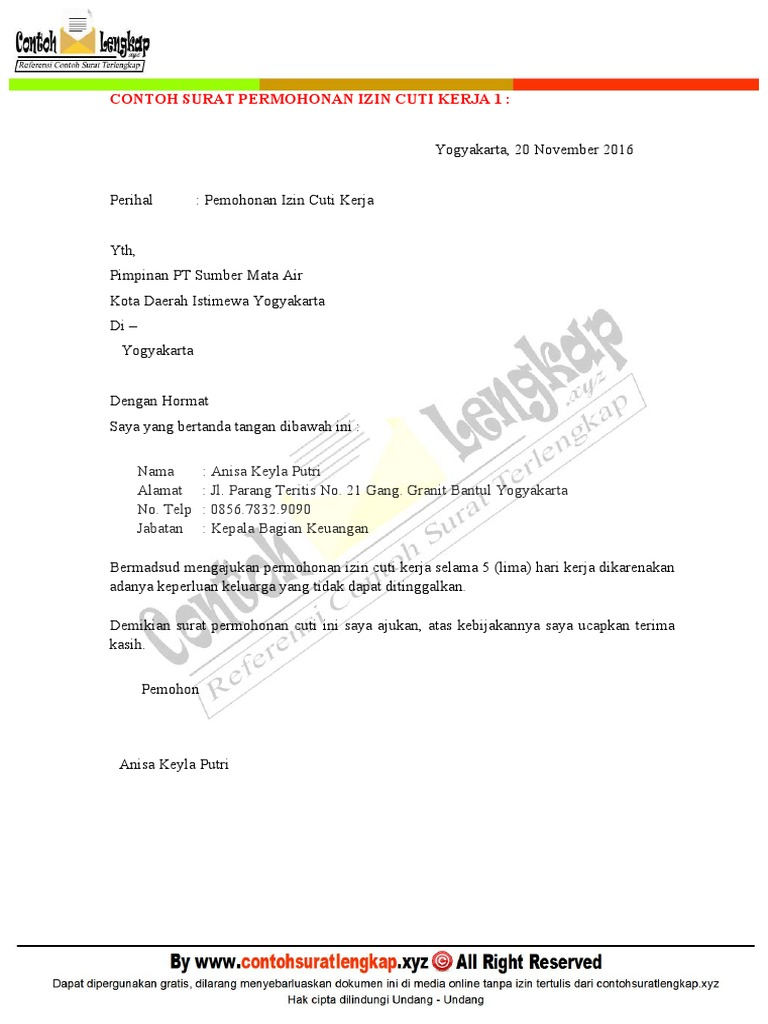 Contoh Surat Permohonan Izin Cuti Kerja Bagi Karyawan