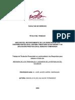 Análisis Del Reconocimiento de Los Derechos de Los Contribuyentes en El Sistema Tributario Ecuatoriano y Su Aplicación Práctica en El Derecho Comparado
