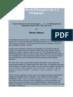 Artigo - Reboul - 'a Filosofia Da Educação Não é a Pedagogia' (1971)