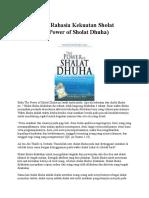 Sholat Dhuha Dan Asmaul Husna Penarik Rezeki