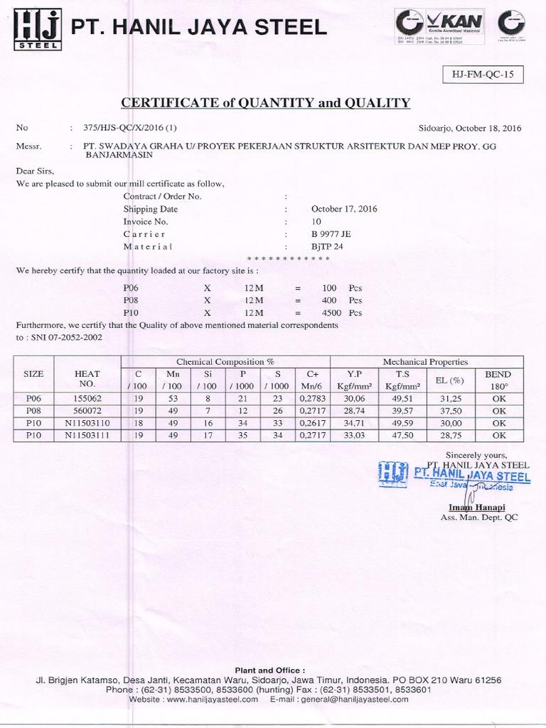 Mill Certificate Besi Beton Tahap Ii