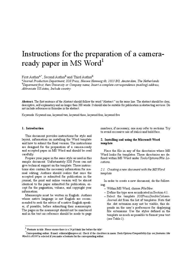 IOSPressDoubleColumnJournal Instructions | Microsoft Word | Typefaces