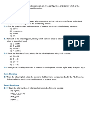 Practice Questions Weeks 345 3rded Molecular Orbital