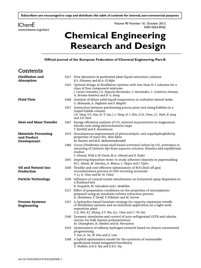 First Author 2012 Chemical Engineering Research And Design 1 Chemical Reactor Distillation Free 30 Day Trial Scribd