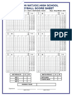 Volleyball - Score Sheet