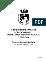 VÍAS Y OBRAS | Informe sobre trabajos realizados por el Departamento de Vías Públicas y Edificios