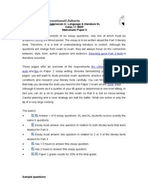 Gr 12 Kerangka Menulis Paper 2 (Indonesian A: Lang&Lit) | Test