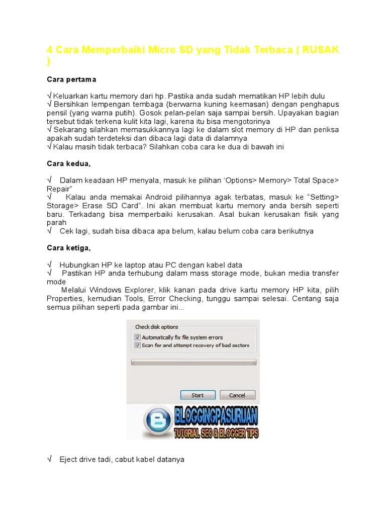 4 Cara Memperbaiki Micro Sd Yang Tidak Terbaca Docx
