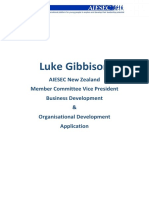 Luke Gibbison - AIESEC NZ MCVP Application 1516