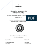Managing Resource for Enterpreneurship