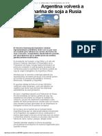 Argentina volverá a exportar harina de soja a Rusia (02/11/2016)