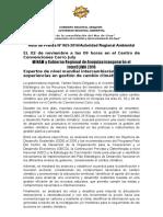 NOTA DE PRENSA N° 063 GOBERNADORA REGIONAL Y MINAM INAUGURARÁN EL INTERCLIMA 2016 EL 02 DE NOVIEMBRE EN EL CENTRO DE CONVENCIONES CERRO JULY