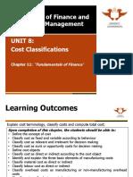 Unit 8 Cost Classifications 2014