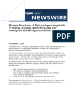 Michigan Department of State employee charged with 11 felonies, including identity theft, after joint investigation with Michigan State Police