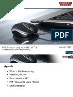 IBM Maximo PM Forecasting Webcast