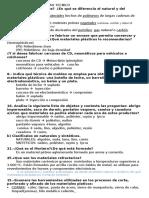Examen Tecnología 3º ESO-Materiales-Plasticos