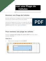 Excel Plages Cellules