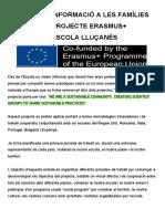 INFORMACIÓ A LES FAMÍLIES ERASMUS+