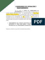 Carta de Compromiso de Operación y Mantenimiento