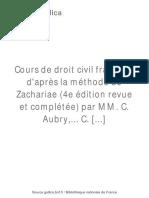 Cours de Droit Civil Français [...]Aubry Charles