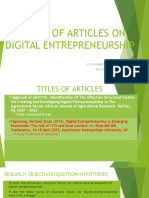 Review of Articles on Digital Entrepreneurship