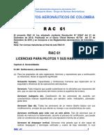 RAC 61 - Licencias Para Pilotos y Sus Habilitaciones