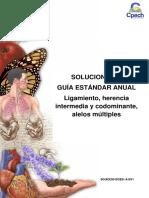 2016 Solucionario Guía 18 Ligamiento Herencia Intermedia y Codominante Alelos Múltiples