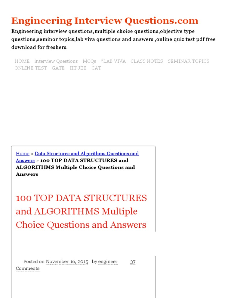 100 TOP DATA STRUCTURES And ALGORITHMS Multiple Choice Questions And  Answers Data Structures And Algorithms Questions And Answers.pdf | Array  Data Structure ...