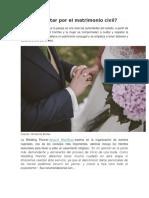 Por Qué Optar Por El Matrimonio Civil