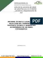 Informe Tecnico y Legal de La Selección Del Terreno Con Sustento Tecnico y Normativo Acompañado de Un Panel Fotografico