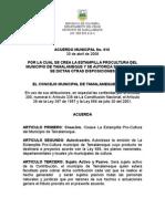 Acuerdo Pro Estampilla Tamalameque
