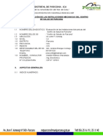 Informe Instalaciones Mecanicas Del Cc.ss Parcona - Perfil 09.09.16