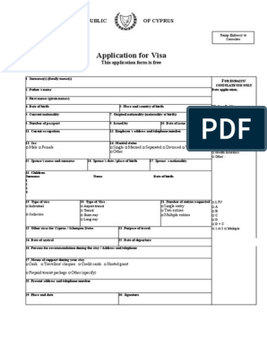 Application For Cyprus Visa Pdf Travel Visa Passport