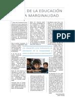 El rol de la educación en la marginalidad