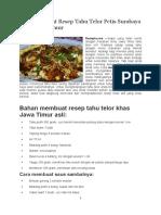 Cara Membuat Resep Tahu Telor Petis Surabaya Khas Jawa Timur Doc