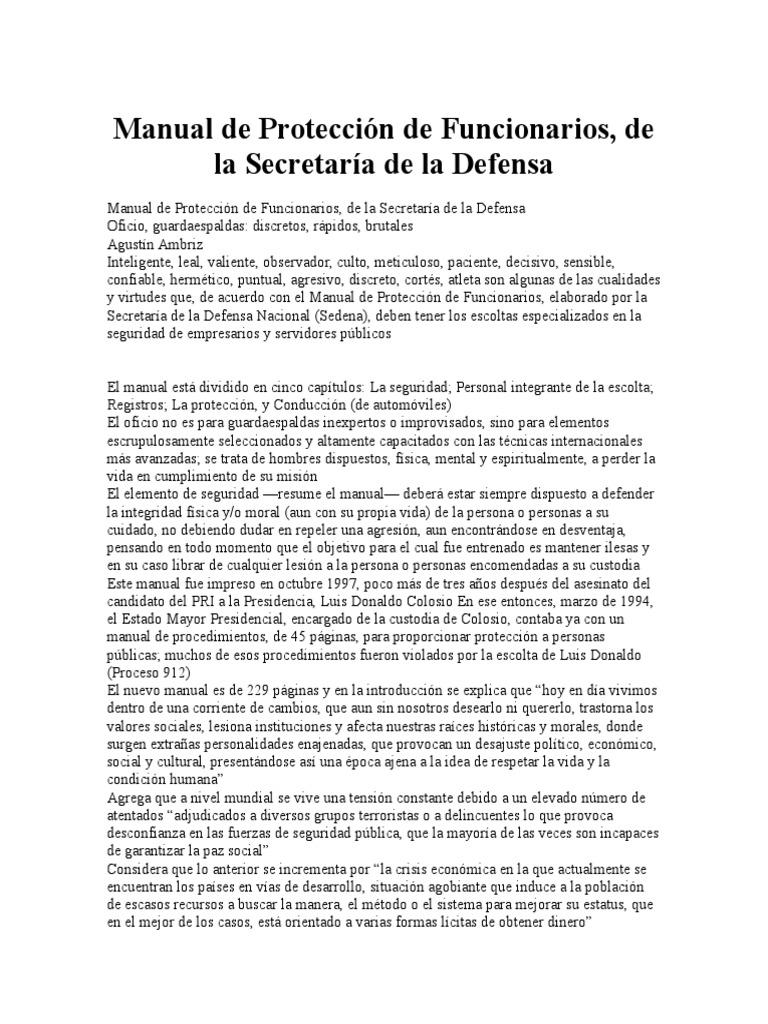 manual de protecci n de funcionarios rh pt scribd com