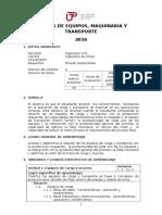 Silabus de Equipo, Maquinaria y Transporte 2016